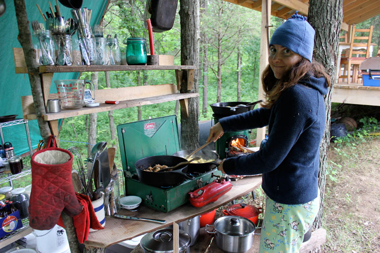 Cooking Our Breakfast In My Monkey Pajamas! We Usually Fire Up Both Stoves  To Cook A Meal. The Rocket Stove Gets Pretty Sooty, So We Have Pots  Designated ...